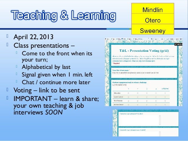  April 22, 2013 Class presentations – Come to the front when itsyour turn; Alphabetical by last Signal given when 1 m...