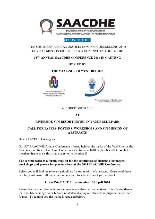 1 SECOND NOTICE THE SOUTHERN AFRICAN ASSOCIATION FOR COUNSELLING AND DEVELOPMENT IN HIGHER EDUCATION INVITES YOU TO THE 35...