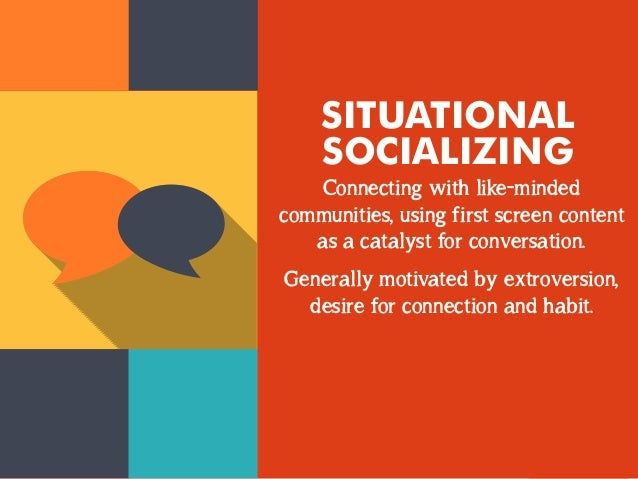 SITUATIONAL  SOCIALIZING  Connecting with like-minded  communities, using first screen content  as a catalyst for conversa...