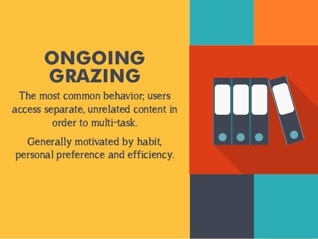 ONGOING  GRAZING  The most common behavior; users  access separate, unrelated content in  order to multi-task.  Generally ...