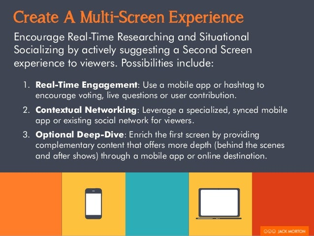 Create A Multi-Screen Experience  Encourage Real-Time Researching and Situational  Socializing by actively suggesting a Se...