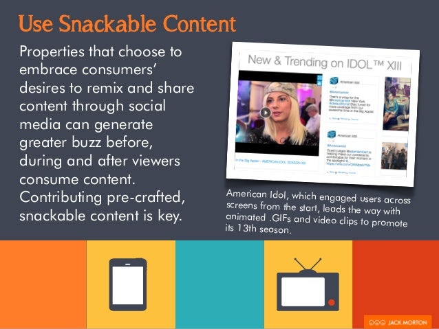 Use Snackable Content  Properties that choose to  embrace consumers'  desires to remix and share  content through social  ...