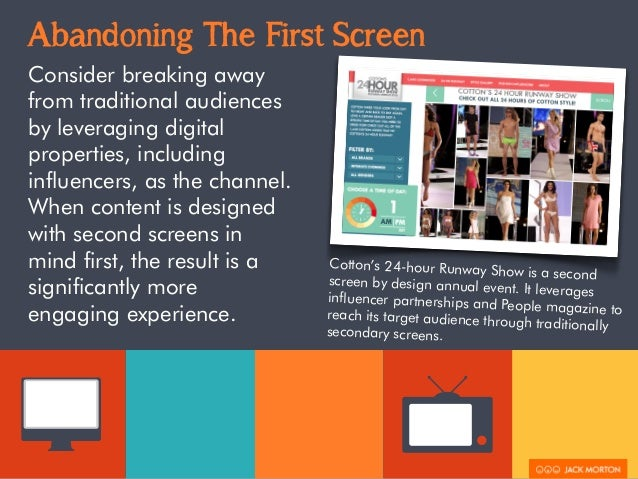 Abandoning The First Screen  Consider breaking away  from traditional audiences  by leveraging digital  properties, includ...