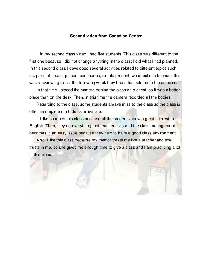 Second video from Canadian Center<br />         In my second class video I had five students. This class was different to ...