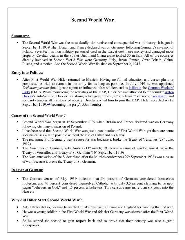 World war 1 and 2 summary