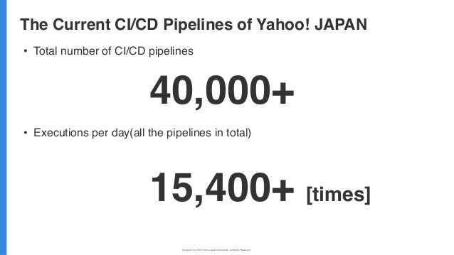 Copyright (C) 2019 Yahoo Japan Corporation. All Rights Reserved. 無断引用・転載禁止 • Total number of CI/CD pipelines • Executions ...