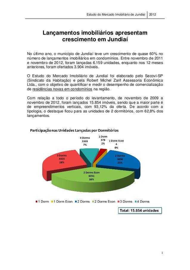 Estudo do Mercado Imobiliário de Jundiaí 2012 1 Lançamentos imobiliários apresentam crescimento em Jundiaí No último ano, ...