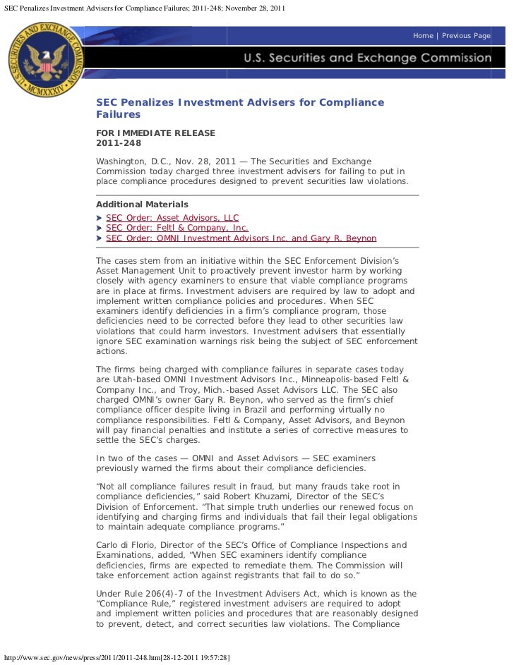 SEC Penalizes Investment Advisers for Compliance Failures; 2011-248; November 28, 2011                                    ...