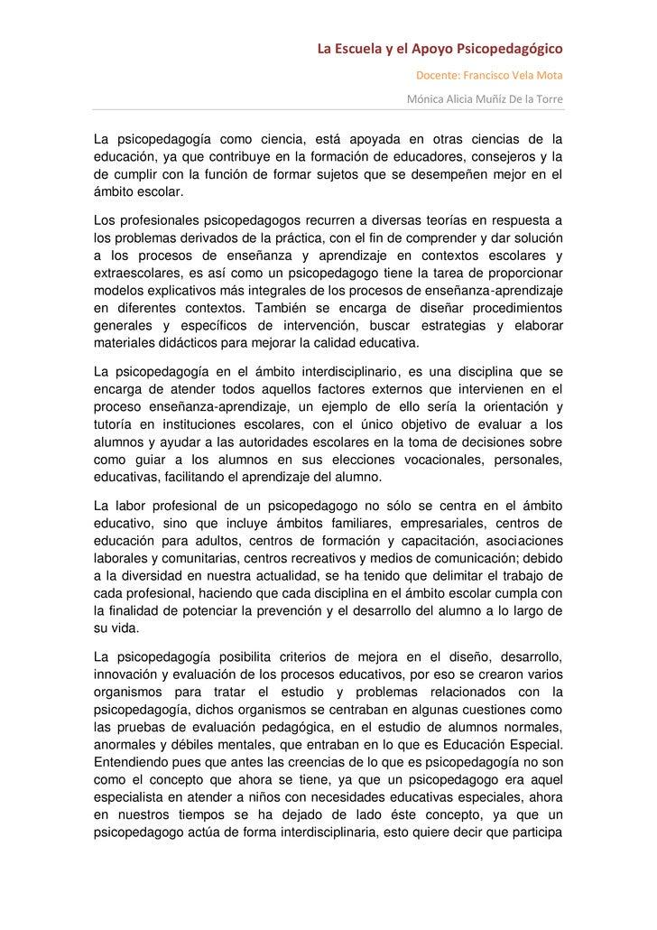 La Escuela y el Apoyo Psicopedagógico                                                       Docente: Francisco Vela Mota  ...