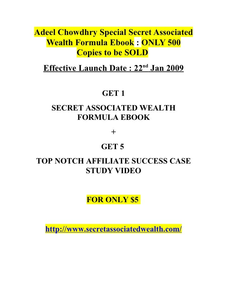 Adeel Chowdhry Special Secret Associated   Wealth Formula Ebook : ONLY 500           Copies to be SOLD   Effective Launch ...