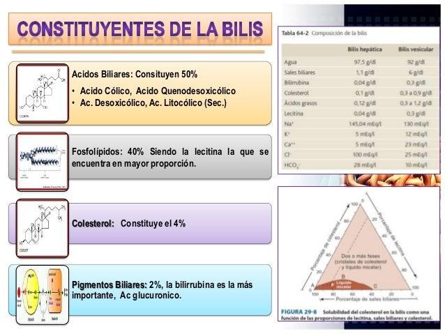 Acidos Biliares: Consituyen 50% • Acido Cólico, Acido Quenodesoxicólico • Ac. Desoxicólico, Ac. Litocólico (Sec.) Fosfolíp...