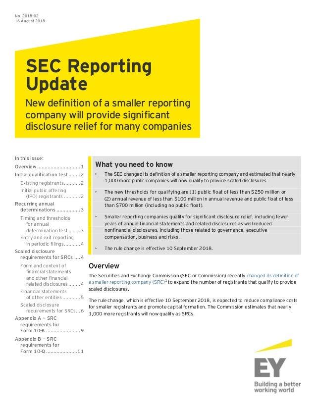 Sec reporting update smaller reporting companies