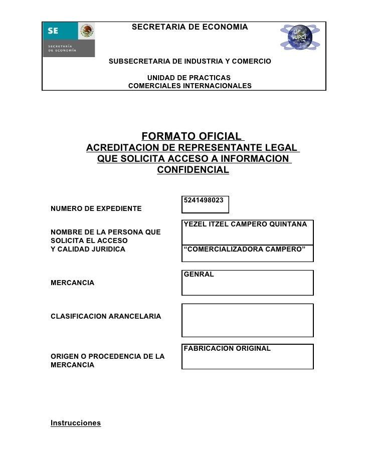 SECRETARIA DE ECONOMIA                SUBSECRETARIA DE INDUSTRIA Y COMERCIO                        UNIDAD DE PRACTICAS    ...