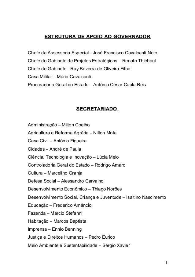 ESTRUTURA DE APOIO AO GOVERNADOR  Chefe da Assessoria Especial - José Francisco Cavalcanti Neto  Chefe do Gabinete de Proj...