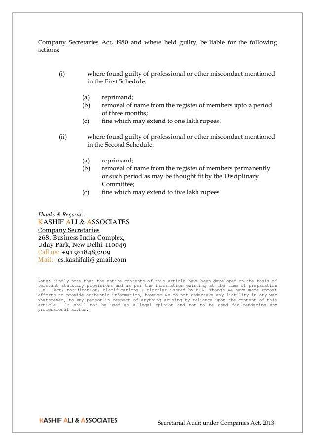 Secretarial Audit Under Companies Act 2013