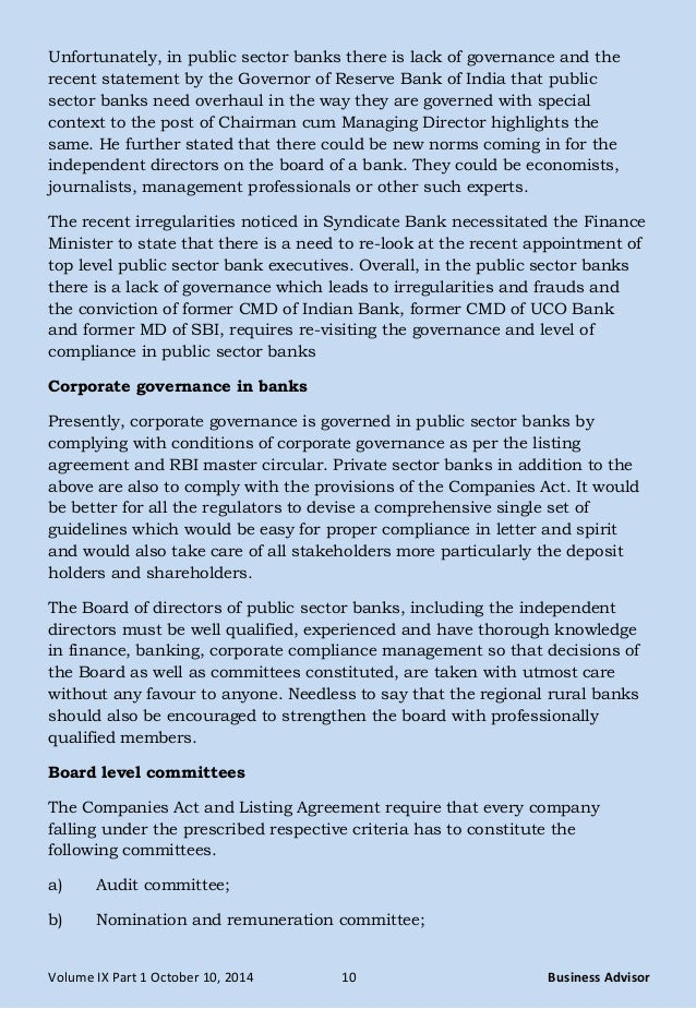 corporate governance in banking sector Sustainability guidelines for the banking sector 2 3  corporate governance ( page:14 )  of these banking sector basic sustainability principles, banks will be.