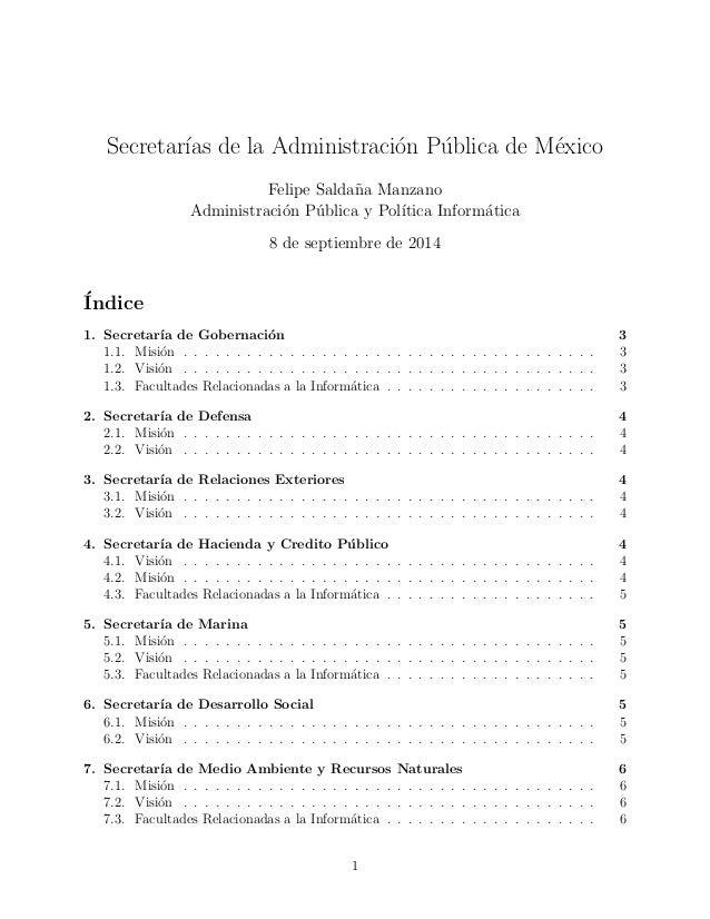 Secretaras de la Administracion Publica de Mexico  Felipe Salda~na Manzano  Administracion Publica y Poltica Informatica  ...