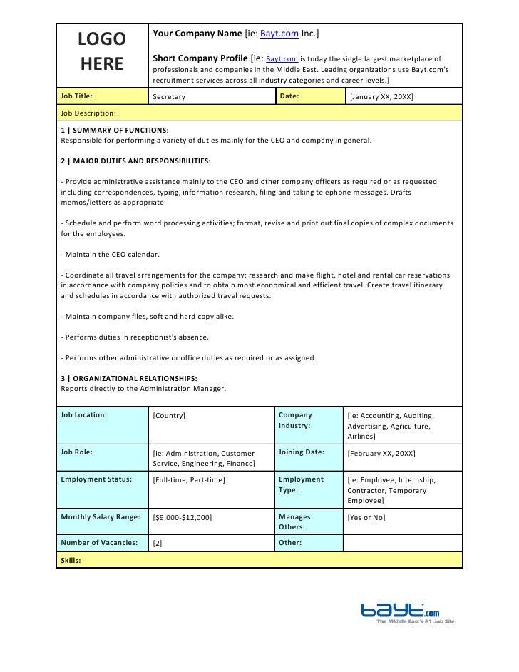Secretary Job Description Template By Bayt.com. LOGO Your Company Name [ie:  Bayt.com Inc.] HERE Short ...