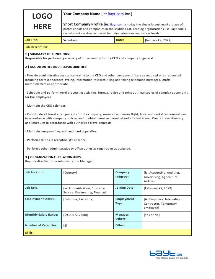Secretary job description template by for Creating job descriptions template