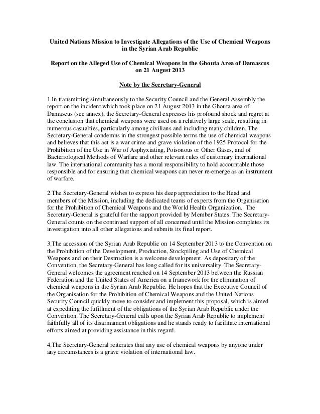 United Nations Mission to Investigate Allegations of the Use of Chemical Weapons in the Syrian Arab Republic Report on the...