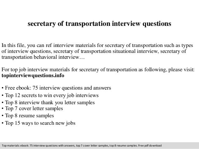 Secretary Of Transportation Interview Questions In This File, You Can Ref  Interview Materials For Secretary ...