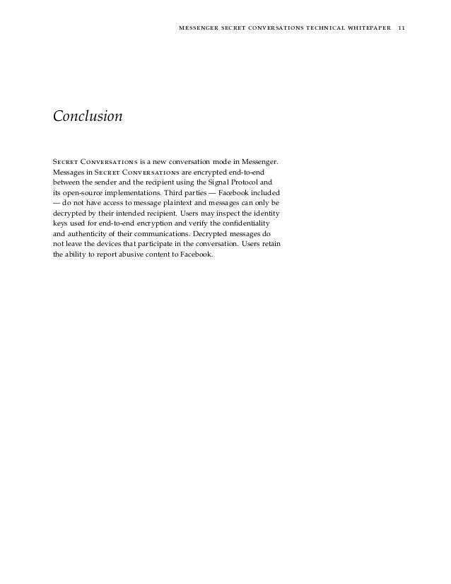 messenger secret conversations technical whitepaper 11 Conclusion Secret Conversations is a new conversation mode in Messe...