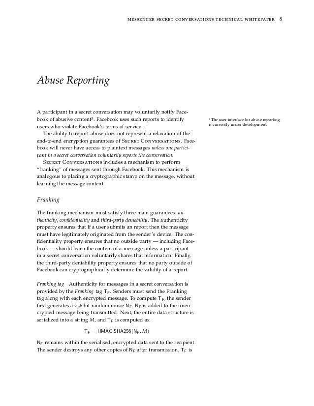 messenger secret conversations technical whitepaper 8 Abuse Reporting A participant in a secret conversation may voluntari...