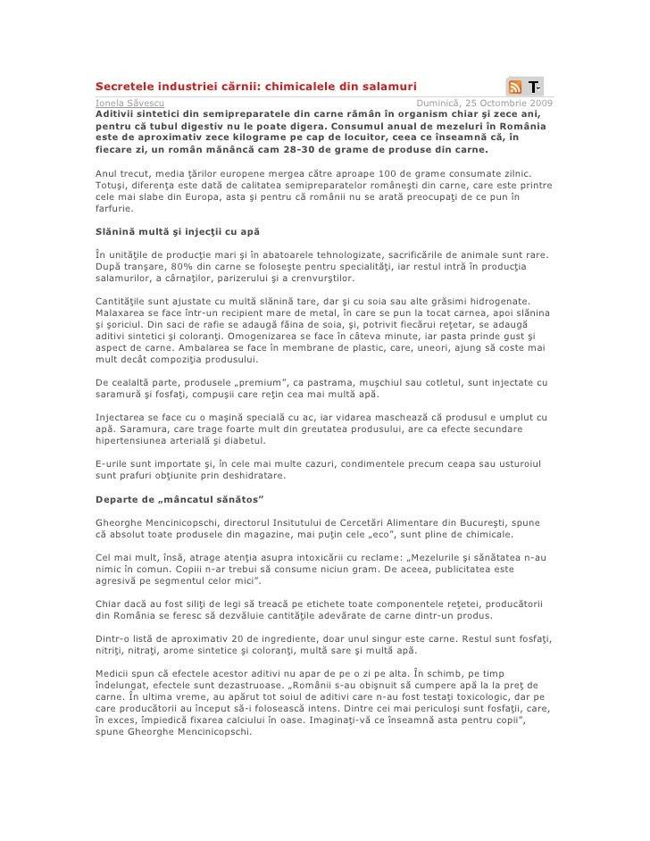 Secretele industriei cărnii: chimicalele din salamuri Ionela Săvescu                                                      ...