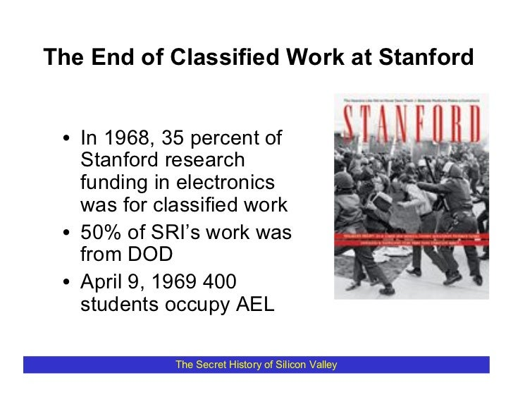 The End of Classified Work at Stanford    • In 1968, 35 percent of    Stanford research    funding in electronics    was f...