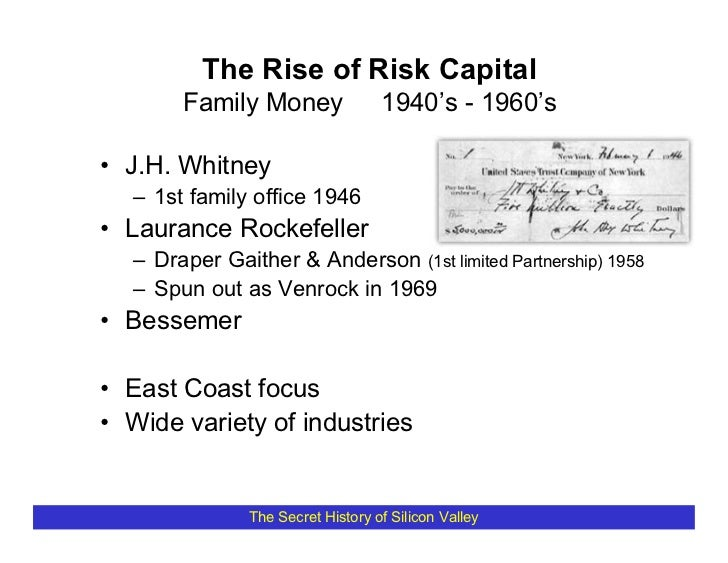 The Rise of Risk Capital        Family Money                1940's - 1960's  • J.H. Whitney   – 1st family office 1946 • L...
