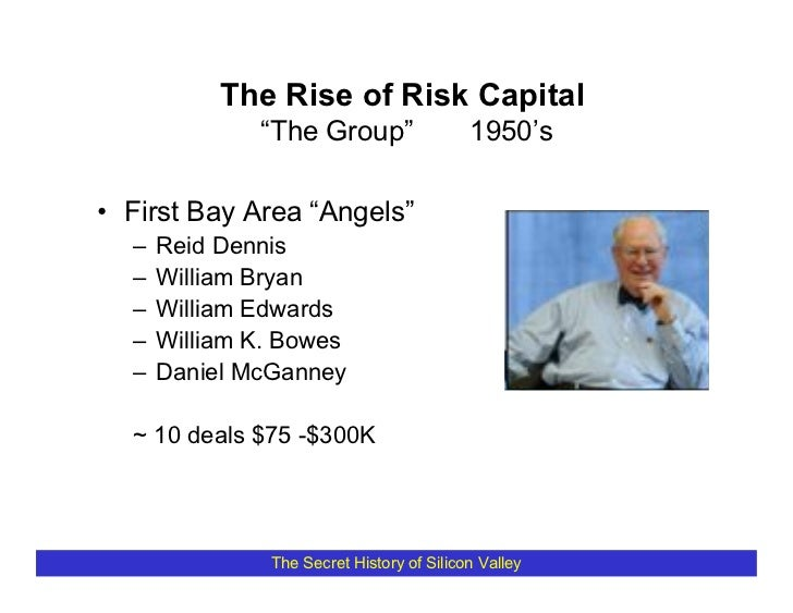 "The Rise of Risk Capital               ""The Group""                  1950's  • First Bay Area ""Angels""   –   Reid Dennis   ..."