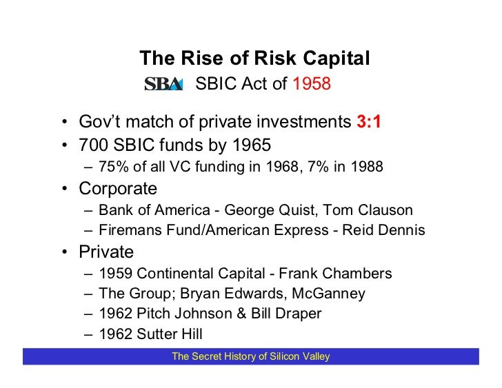 The Rise of Risk Capital                      SBIC Act of 1958  • Gov't match of private investments 3:1 • 700 SBIC funds ...