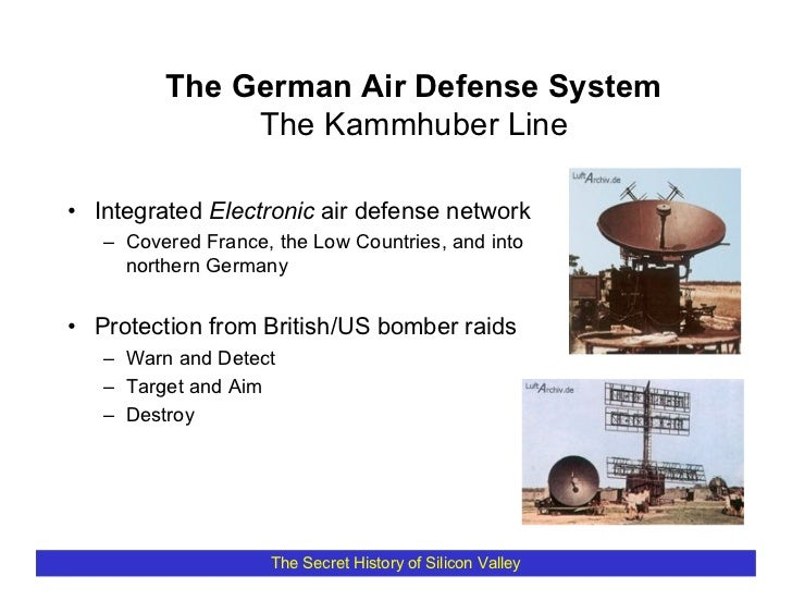 The German Air Defense System               The Kammhuber Line  • Integrated Electronic air defense network    – Covered F...
