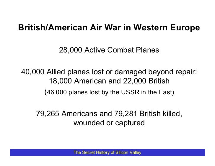 British/American Air War in Western Europe            28,000 Active Combat Planes  40,000 Allied planes lost or damaged be...