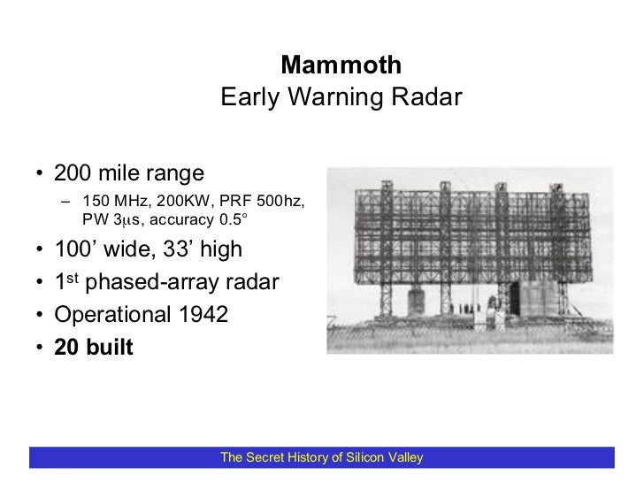 Mammoth                       Early Warning Radar  • 200 mile range     – 150 MHz, 200KW, PRF 500hz,       PW 3µs, accurac...