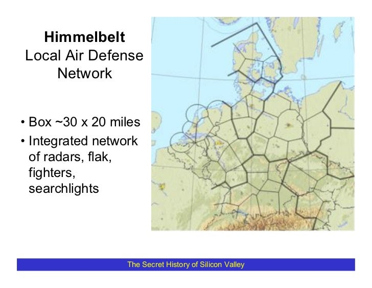 Himmelbelt Local Air Defense     Network   • Box ~30 x 20 miles • Integrated network   of radars, flak,   fighters,   sear...