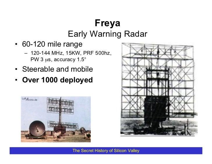 Freya                  Early Warning Radar • 60-120 mile range   – 120-144 MHz, 15KW, PRF 500hz,     PW 3 µs, accuracy 1.5...