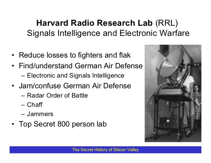 Harvard Radio Research Lab (RRL)     Signals Intelligence and Electronic Warfare  • Reduce losses to fighters and flak • F...