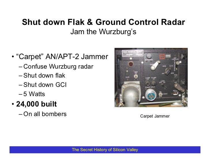 """Shut down Flak & Ground Control Radar                      Jam the Wurzburg's   • """"Carpet"""" AN/APT-2 Jammer   – Confuse Wur..."""