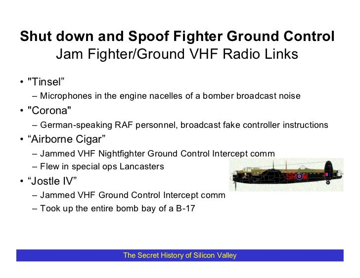 """Shut down and Spoof Fighter Ground Control      Jam Fighter/Ground VHF Radio Links • """"Tinsel""""   – Microphones in the engin..."""