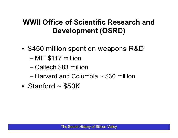 WWII Office of Scientific Research and         Development (OSRD)  • $450 million spent on weapons R&D   – MIT $117 millio...