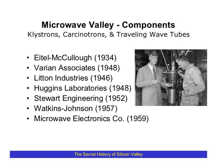 Microwave Valley - Components Klystrons, Carcinotrons, & Traveling Wave Tubes   •   Eitel-McCullough (1934) •   Varian Ass...