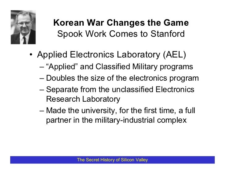 """Korean War Changes the Game        Spook Work Comes to Stanford  • Applied Electronics Laboratory (AEL)   – """"Applied"""" and ..."""