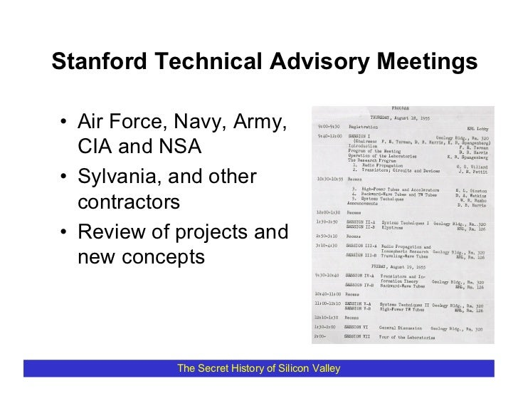 Stanford Technical Advisory Meetings  • Air Force, Navy, Army,   CIA and NSA • Sylvania, and other   contractors • Review ...