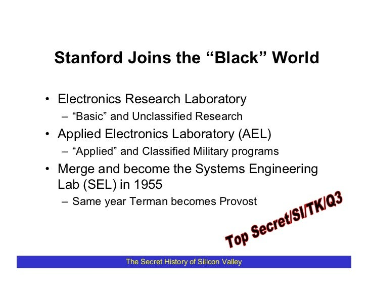 """Stanford Joins the """"Black"""" World  • Electronics Research Laboratory   – """"Basic"""" and Unclassified Research • Applied Electr..."""