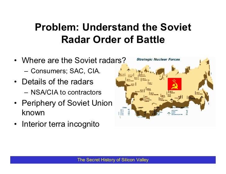 Problem: Understand the Soviet            Radar Order of Battle • Where are the Soviet radars?   – Consumers; SAC, CIA. • ...