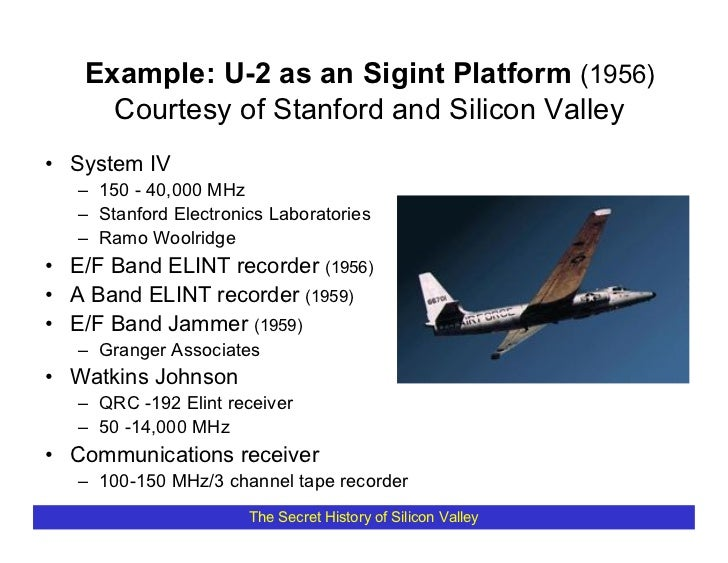Example: U-2 as an Sigint Platform (1956)      Courtesy of Stanford and Silicon Valley • System IV    – 150 - 40,000 MHz  ...
