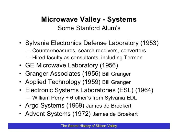 Microwave Valley - Systems                 Some Stanford Alum's  • Sylvania Electronics Defense Laboratory (1953)     – Co...