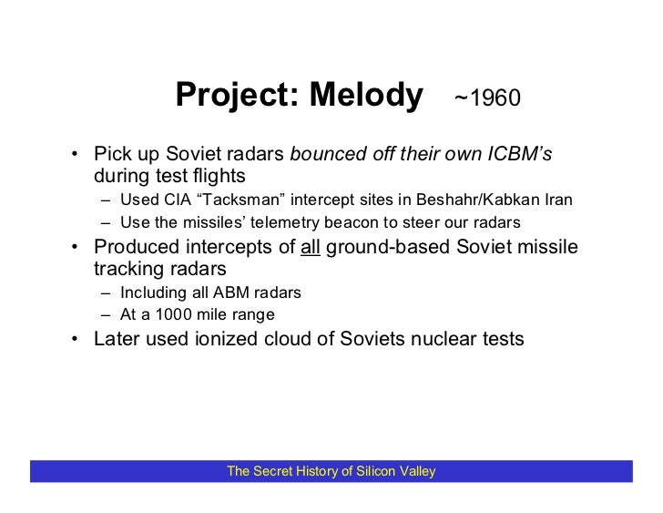 Project: Melody                               ~1960  • Pick up Soviet radars bounced off their own ICBM's   during test fl...