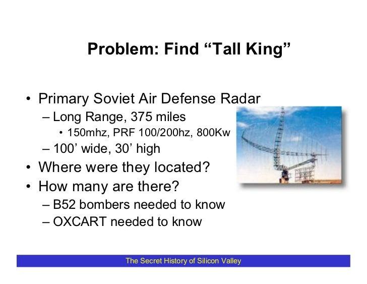 "Problem: Find ""Tall King""  • Primary Soviet Air Defense Radar   – Long Range, 375 miles     • 150mhz, PRF 100/200hz, 800Kw..."